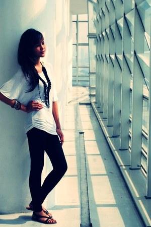 white Forever 21 blouse - black Style Phenomenon leggings - black Forever 21 san