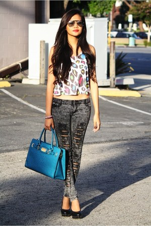leopard print Forever 21 top - turquoise blue Michael Kors bag