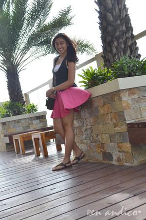 black bag - black Bayo vest - hot pink skirt - black sandals - white top