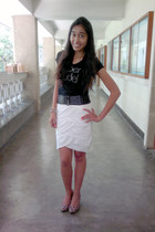 white skirt - black Super Model Print shirt - black belt - leopard print heels