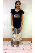 beige alberto bag - silver shoes - charcoal gray Freego pants