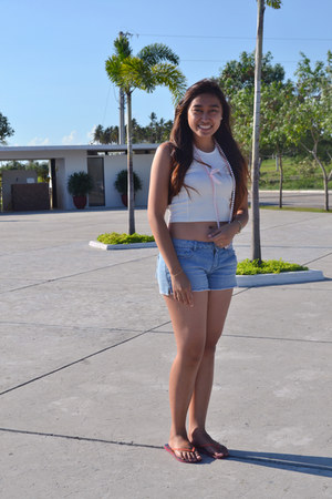 white top - blue Aeropostale shorts - carrot orange Havaianas sandals