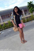 tan Charles & Keith bag - Tomato cardigan - turquoise blue Grendha sandals