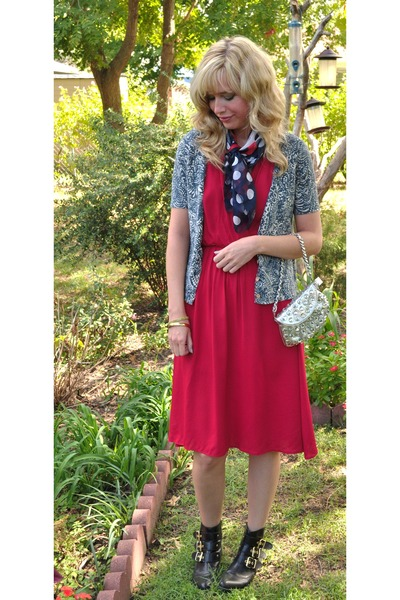 dolce vita boots - vintage dress - target bag