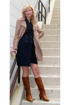 vintage dress - nicole miller coat - Chelsea Crew boots