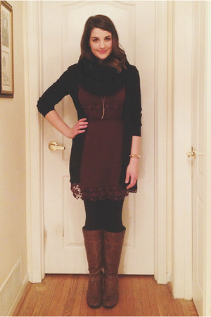 dark brown boots - maroon American Eagle dress - black H&M cardigan