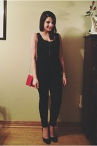 red Boathouse purse - black Smart Set pants - black Urban Outfitters heels