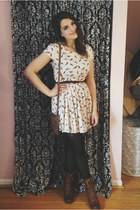 brown ROOTS purse - dark brown Forever 21 boots - peach romwe dress
