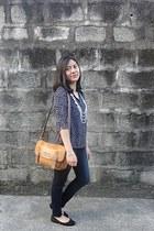 navy Jag jeans - brown satchel Fashion Code 101 bag - black American Eagle flats