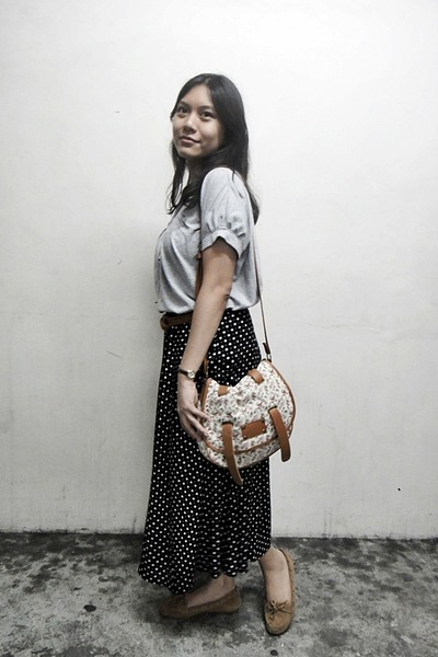 black thrifted skirt - tawny floral Fashion Code 101 bag