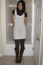forever 21 dress - Macys top - forever 21 tights - Nine West boots