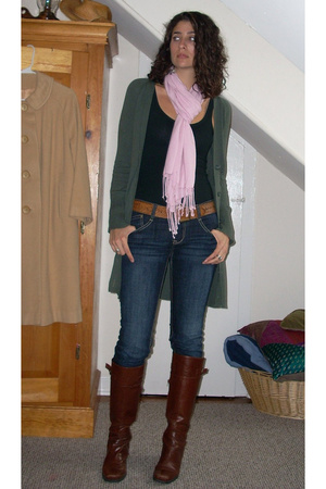 sweater - thrifted scarf - Target top - Nine West shoes