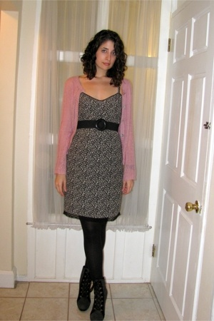 H&M sweater - Old Navy dress - vintage belt - Target tights - Colin Stuart boots