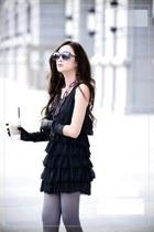 black dress - necklace - heather gray stockings - black gloves