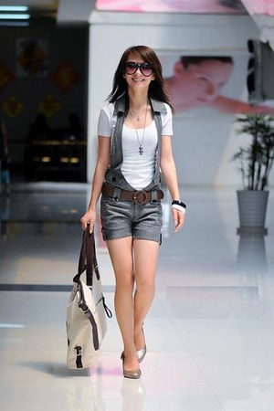 white shirt - coach bag - sunglasses - periwinkle heels - dark brown crochet bel
