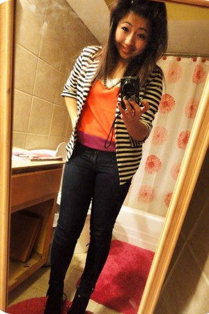 Forever 21 jeans - black striped monteau blazer - orangepurple Marshalls shirt