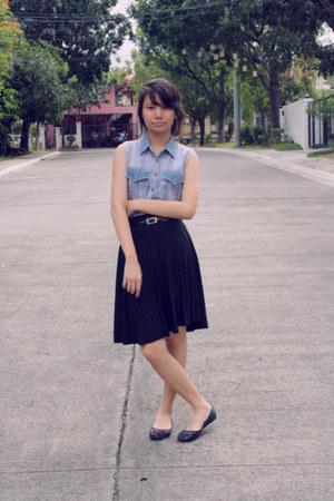 black black thrifted skirt - black belt - sky blue blouse - black black flats