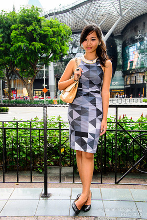 heather gray Motel Rocks dress - nude new look bag - black Hush Puppies heels