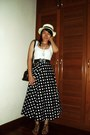 Hat-vintage-bag-tank-cotton-on-top-polka-dot-maxi-skirt-sandals
