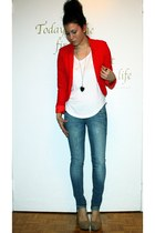 blue jeans - ruby red H&M blazer - white Forever 21 t-shirt - nude GoJane heels