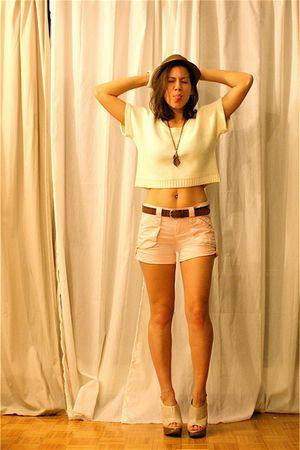 pink shorts - vintage sweater - Aldo shoes - vintage accessories - brown volcom