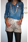 Blue-denim-shirt-floral-knit-zara-shorts-gray-point-zero-stockings-gojane-