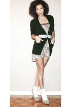 Jacob cardigan - La Senza intimate - beige go jane shoes - socks - Stitches belt