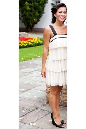 white FCUK dress - black Aldo shoes - black F21 Aldo accessories