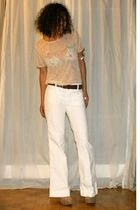 beige American Apparel t-shirt - white Mavi pants - gold accessories