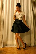 black belt - black skirt - white Stitches shirt - Stoneridge shoes