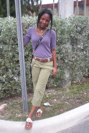 green Express pants - purple shirt - accessories