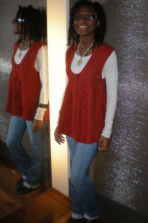Lucky Brand pants - gray shirt - black boots - orange sweater - blue necklace