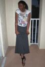 White-zara-t-shirt-black-kenneth-cole-sandals-gray-stripes-pac-sun-skirt