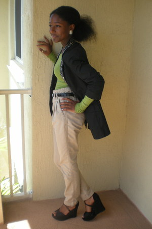 black studded Express blazer - tan H&M pants