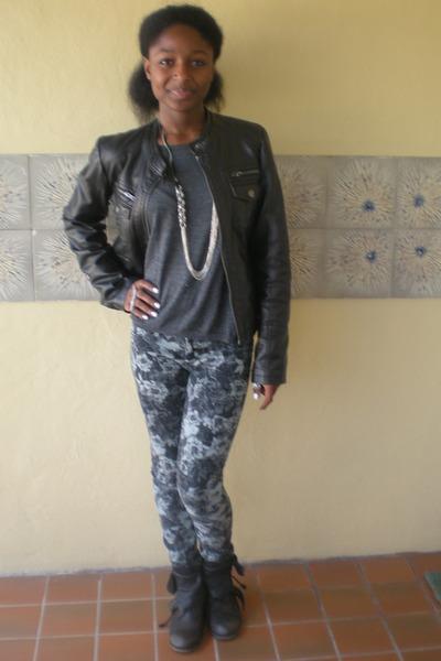 charcoal gray Allsaints Spitalfields boots - navy PacSun jeans - black jacket