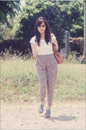 Marc by Marc Jacobs bag - gift from mum wedges - floral pants Bayo pants