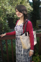 maxi ann taylor dress - straw ann taylor purse - ann taylor cardigan