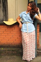 light blue chambray Shop Yapi top - light pink sheer maxi thrifted skirt - off w