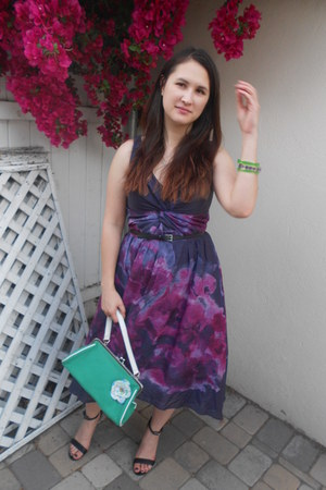 green Urban Outfitters bag - deep purple Lela Rose for Target dress