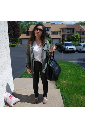 black pleather H&M pants - olive green jacket - black VJ Style bag