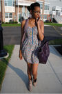Blue-dress-pink-decree-boots-purple-payless-scarf-purple-bag
