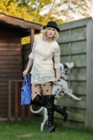 Ebay dress - Ebay dress - Aldo boots - bowler Ebay hat - dotted Bik Bok tights