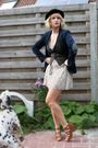 Black-ebay-hat-blue-zara-blazer-brown-pull-bear-vest-beige-guess-dress-b