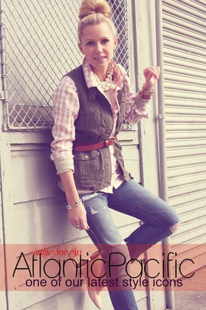 blue BR jeans - cream Jcrew shirt - army green Old Navy vest