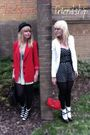 Red-blazer-white-dress-black-shoes-white-cardigan-black-dress-red-purs
