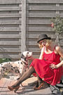 Red-h-m-dress-black-new-look-tights-brown-vero-moda-shoes-silver-shop-ugly