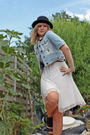 Black-ebay-hat-white-topshop-earrings-white-warehouse-dress-blue-only-jack