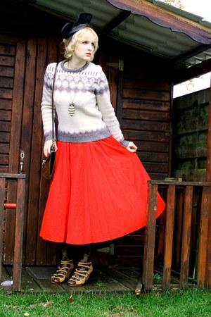 brown Mango shoes - cream Primark sweater - black floral H&M tights
