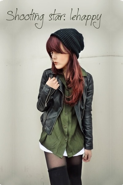 black leather jacket - green shirt - black tigh highs - black bonnet
