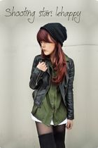 black leather jacket - green shirt - black tigh highs - black bonnet